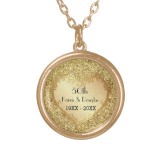 Sparkle Gold Heart 50th Wedding Anniversary Round Pendant Necklace