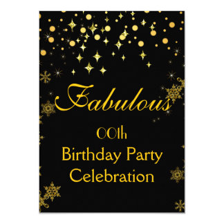 Sparkle Gold Shimmer Lights Birthday Party Card