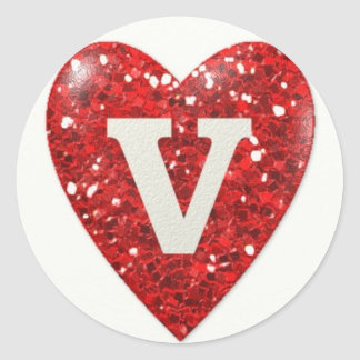 Sparkle Heart with Letter V Classic Round Sticker