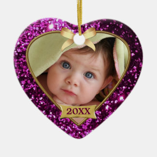 Sparkle Hearts (pink/gold) Photo Ornament