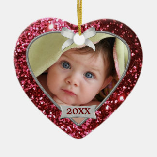 Sparkle Hearts (red/silver) Photo Ornament
