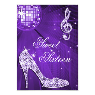 Sparkle Heels and Purple Disco Ball Sweet 16 Card