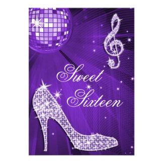 Sparkle Heels and Purple Disco Ball Sweet 16 Invites