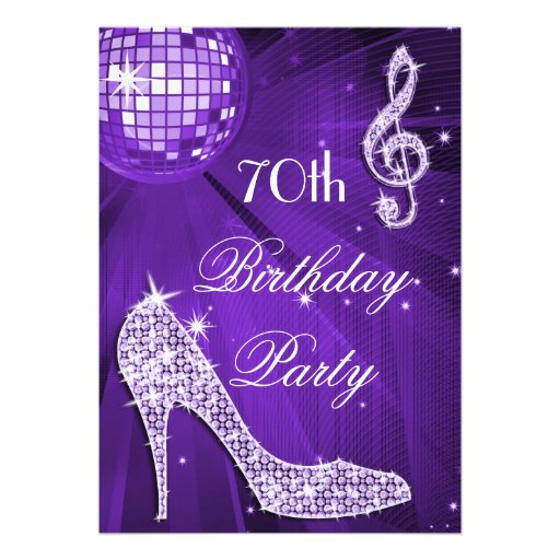 Sparkle Heels Purple Disco Ball 70th Birthday Announcements