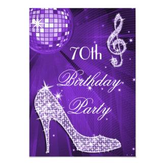 Sparkle Heels Purple Disco Ball 70th Birthday 5x7 Paper Invitation Card