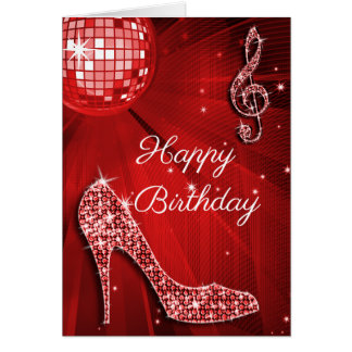 Sparkle Heels Red Disco Ball Card