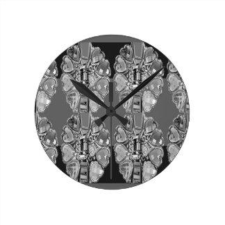 Sparkle Jewel Black n White Art BNW B&w gifts FUN Round Wall Clock