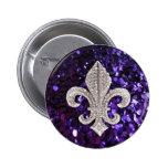 Sparkle jewel Fleur De Lis Sequins Purple 2 Inch Round Button