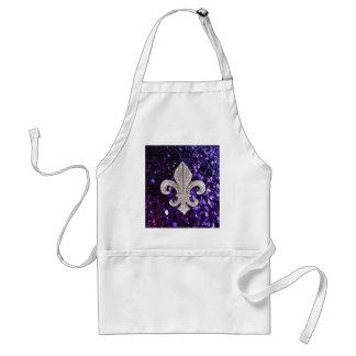 Sparkle jewel Fleur De Lis Sequins Purple Adult Apron