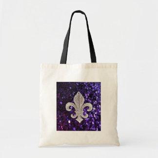 Sparkle jewel Fleur De Lis Sequins Purple Budget Tote Bag