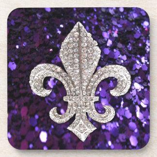 Sparkle jewel Fleur De Lis Sequins Purple Beverage Coaster
