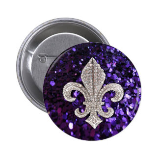 Sparkle jewel Fleur De Lis Sequins Purple Pinback Buttons