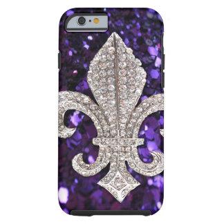 Sparkle jewel Fleur De Lis Sequins Purple Tough iPhone 6 Case