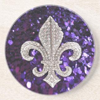Sparkle jewel Fleur De Lis Sequins Purple Drink Coaster