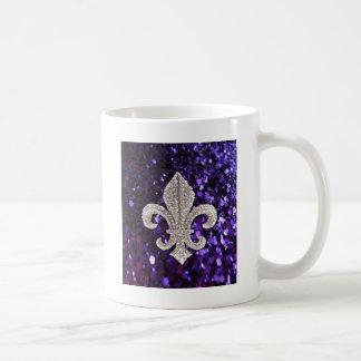 Sparkle jewel Fleur De Lis Sequins Purple Coffee Mug