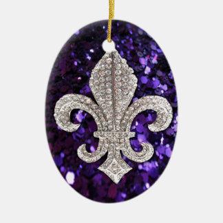 Sparkle jewel Fleur De Lis Sequins Purple Double-Sided Oval Ceramic Christmas Ornament