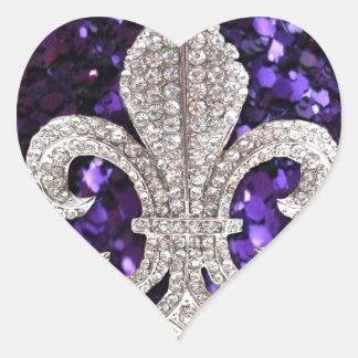 Sparkle jewel Fleur De Lis Sequins Purple Heart Sticker
