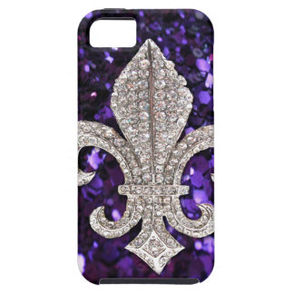 Sparkle jewel Fleur De Lis Sequins Purple iPhone SE/5/5s Case
