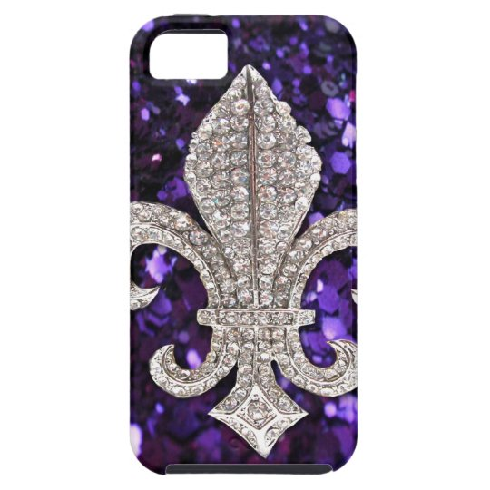 Sparkle jewel Fleur De Lis Sequins Purple iPhone SE/5/5s Case