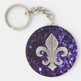 Sparkle jewel Fleur De Lis Sequins Purple Keychain