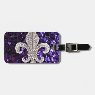 Sparkle jewel Fleur De Lis Sequins Purple Travel Bag Tags