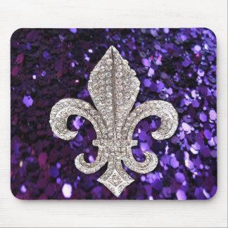 Sparkle jewel Fleur De Lis Sequins Purple Mouse Pad