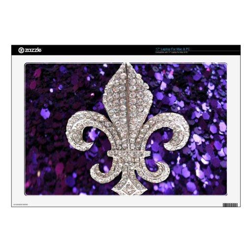 Sparkle jewel Fleur De Lis Sequins Purple Laptop Skin