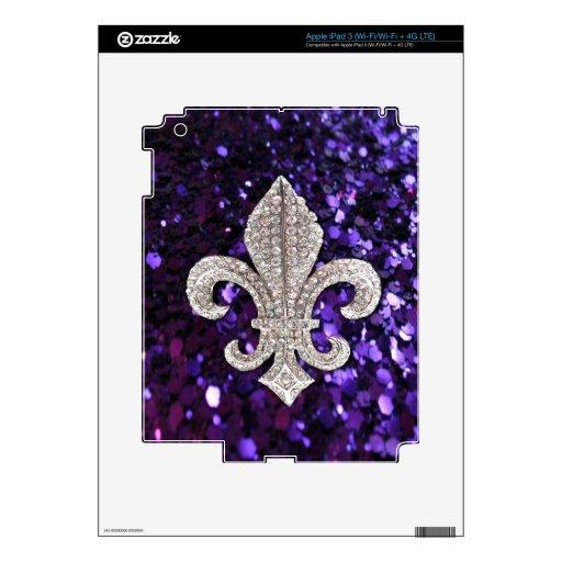 Sparkle jewel Fleur De Lis Sequins Purple Decals For iPad 3