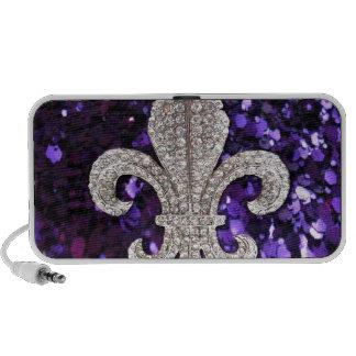 Sparkle jewel Fleur De Lis Sequins Purple iPhone Speaker