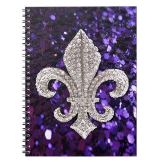 Sparkle jewel Fleur De Lis Sequins Purple Spiral Notebook