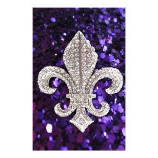 Sparkle jewel Fleur De Lis Sequins Purple Stationery