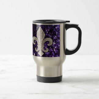 Sparkle jewel Fleur De Lis Sequins Purple Travel Mug