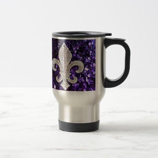 Sparkle jewel Fleur De Lis Sequins Purple Travel Mug