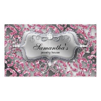 Sparkle Jewelry Business Card Zebra Classy Pink