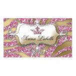 Sparkle Jewelry Business Card Zebra Crown Pink