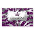 Sparkle Jewelry Business Card Zebra Crown Purple