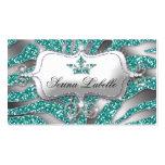 Sparkle Jewelry Business Card Zebra Crown Teal
