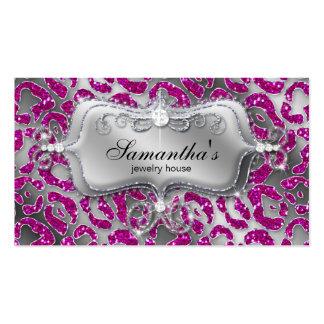 Sparkle Jewelry Business Card Zebra Hot Pink Silve