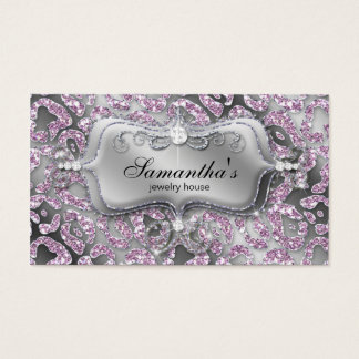 Sparkle Jewelry Business Card Zebra Ice Pink