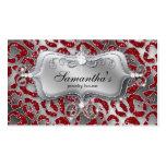 Sparkle Jewelry Business Card Zebra Red Silver