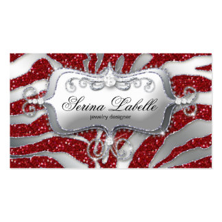 Sparkle Jewelry Business Card Zebra Silver Red H