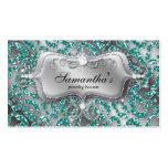 Sparkle Jewelry Business Card Zebra Teal 2 Silver