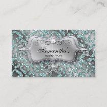 Sparkle Jewelry Business Card Zebra Teal Silver