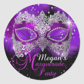 Sparkle Lace Mask Purple Masquerade Sticker