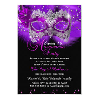Sparkle Lace Mask Purple Masquerade Sweet 16 5x7 Paper Invitation Card