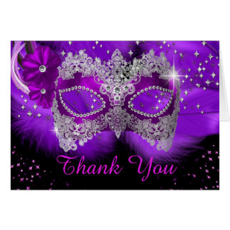 Sparkle Lace Mask Purple Masquerade Thank You Card