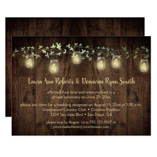 Sparkle Lights Mason Jar Ivy Reception Only Invitation