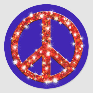 Sparkle Look Peace Sign Round Sticker