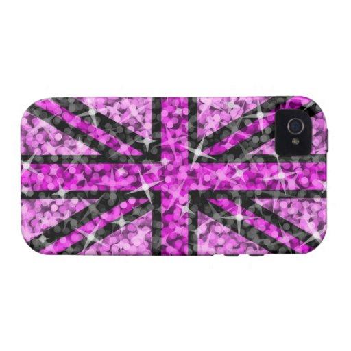 Sparkle Look UK Pink Black iPhone 4 tough case