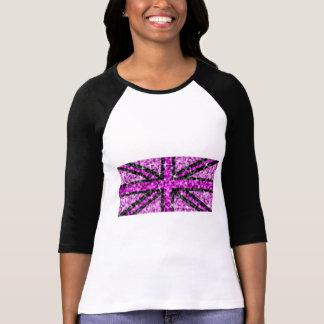 Sparkle Look UK Pink Black ladies 3/4 sleeve T-Shirt